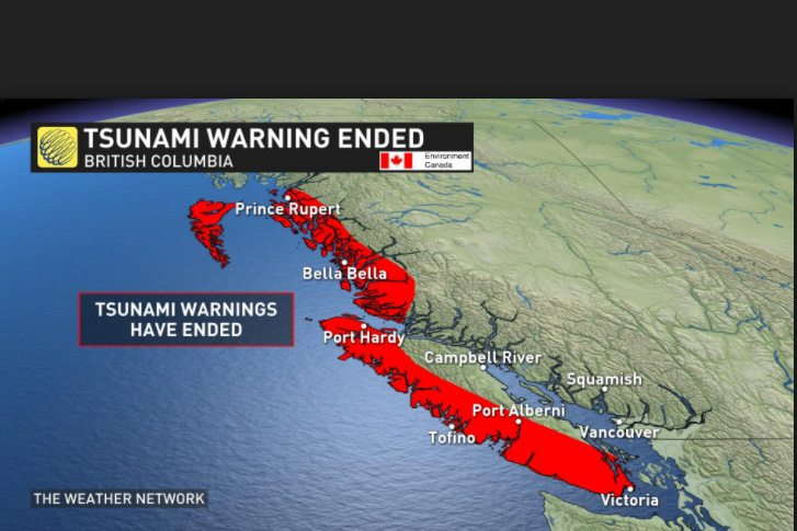 tsunami warning for west coast of vancouver island this